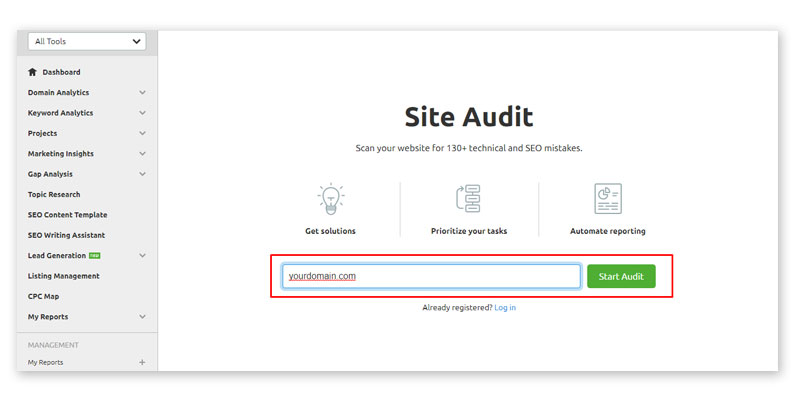 semrush tool audit