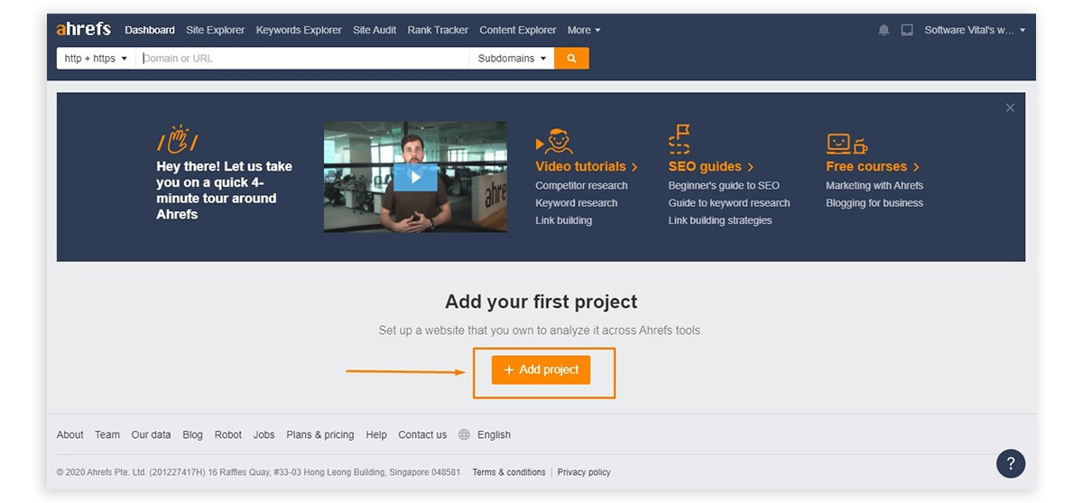 ahrefs add project